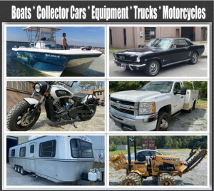 Boats, Collector Cars, Motorcycles, RVs, Equipment, Trucks and More!