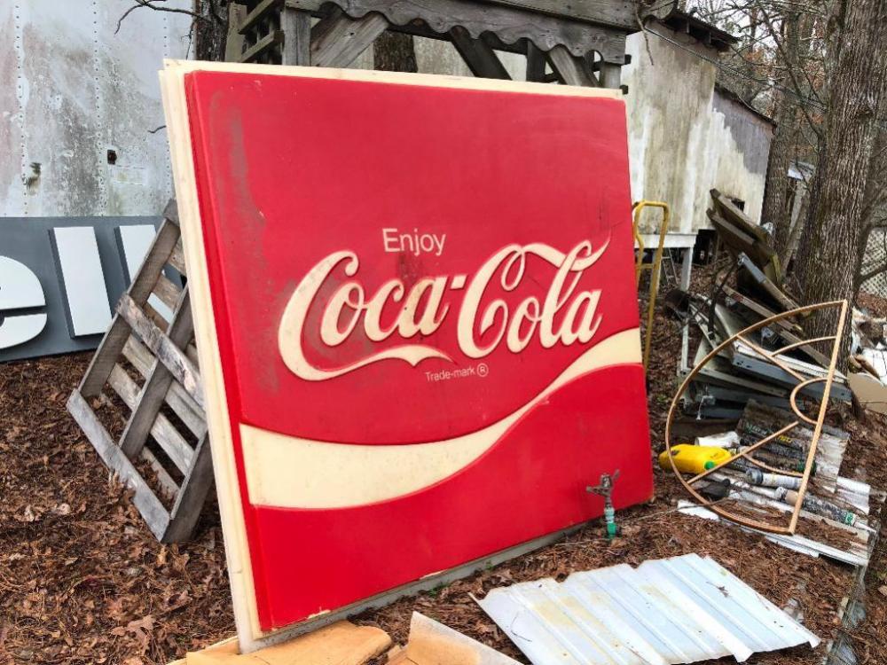 Coca Cola Sign 6' x 6' (has a crack in it)