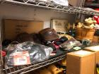 Shelf lot of carpenters belts, holsters, misc