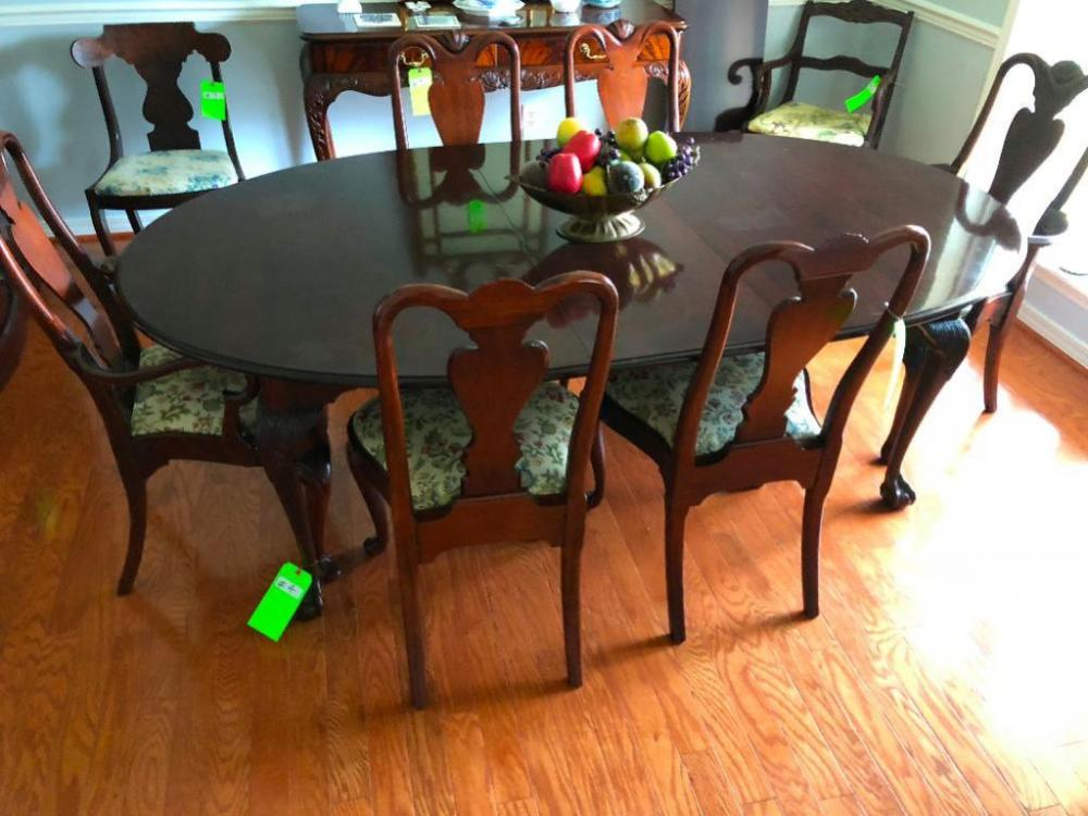 Dining Room Table, 6 Chairs, Table Pad
