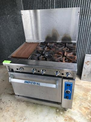 Imperial 4-Burner/12in Flat Griddle/Stove Combo - Gas