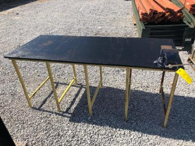5ft Wide Work Table with Table Vice