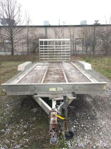 "20' Aluminum Pull behind trailer, 6"" side rails, attached load ramp (Triton)"