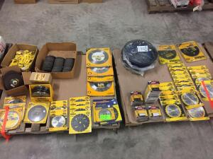 (2) Pallets - Misc Size saw blades, grinding wheels, Driver bits, Brake drums, Misc Size saw chains