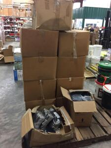 Pallet - Multiple boxes, various sizes of steel toed rubber boots, partial boxes of work gloves