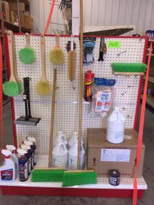 Shelf Lot - Misc cleaning brushes, squeegee, Pink Magic car wash, Bleach white tire cleaner