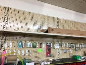 Wall Lot - Hinges, hook eyes, u-bolts, Rivits, carriage bolts, pole clamps, fluorescent bulbs