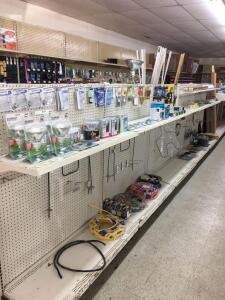 Shelf Lot - Misc bulbs, electrical wire, extension cords, porcelain lamp holders, stove elements,…