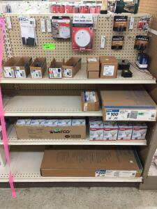 Shelf: Breakers, batteries, smoke alarms, flood light bulbs