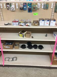 Shelf Lot - Light switches, 24 ga Hanger iron, wire nuts, fan boxes, pipe straps, circuit tester, door bells