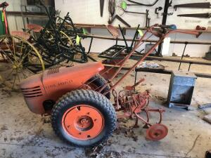 David Bradley Vintage Walk Behind Tractor with Plow and Cultivator Attachments