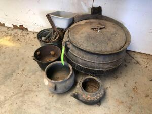 (2) Cast Iron Pots, (1) Large with Some Damage