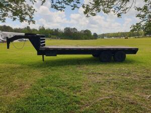 Shop Built Gooseneck 20' flatbed trailer - no ramps, wooden floor, 2' side mounted tool box