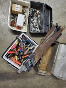 Screwdrivers, wrenches, old tool box, old hand saws