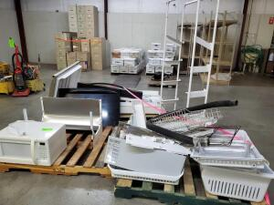 "(3) Pallets of appliance parts (misc) used microwave oven, frigidaire sign (72"" x 12"") metal display rack"