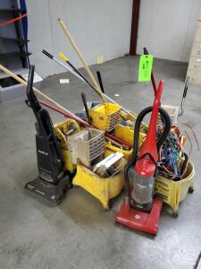Mop Buckets, Vaccum cleaners, old mops, old straps