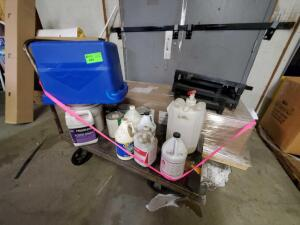 Cart with Contents: Cleaners and floor fninshing, pallet with Samsung Kitchen End Cap Display