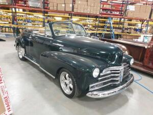 1948 Chevrolet Convertible Fleetmaster, VIN#14FKG38737, dark green with tan leather interior, canvas top, 350 Engine, Power Windows on Driver's side