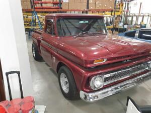 1964 Chevy Maroon C-10 Stepside Truck, 350 Engine, Grey Cloth Interior, Automatic, Gas Burner, Modified Bed Bottom