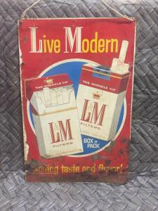 "L & M Cigarette Sign 18"" x 12"""