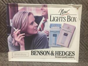 "Benson & Hedges Sign 21-1/2"" x17"""