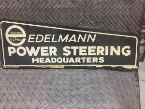 "Edelman Power Steering Sign 34"" x 12"""