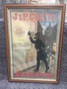 "J.P. Coats Sewing Sign 17"" x 24"""