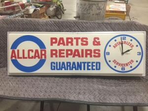 "Allcar Parts Electric Sign/Clock 50"" x 16"" (Lights up)"