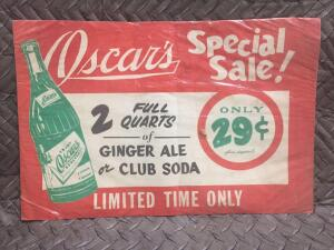 "Oscar's Ginger Ale Sign 20"" x 12"""