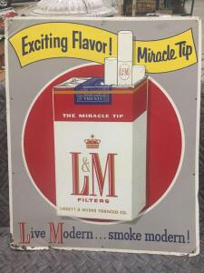 "L & M Cigarette Sign 28"" x 23"""