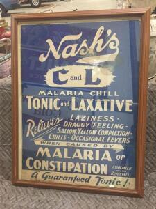"Nash Laxative Sign 34"" x 26"""