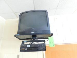 Lot- Magnavox TV and Toshiba VCR with Hanging Bracket, Epson Projector, 2 Drawer and 4 Drawer File Cabinet, Desk