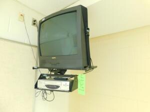 Sanyo TV and Sanyo VCR with Hanging Bracket