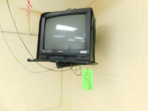 Lot- Quasar TV w/ Hanging Bracket, Epson Projector, Smartboard