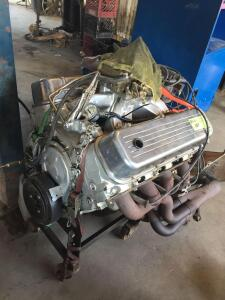 UPDATED INFO/PICS! - V8 454 BB Chevy Rollercam & Rocker Motor with Transmission - less than 30 hours
