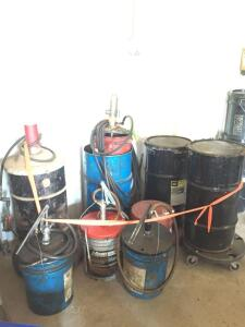 Various types of grease and gear oil, air pumps and hand pumps