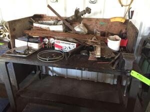 Work Table with Contents: Bench Vise & Misc Items