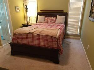 Main Bedroom Furniture: Bed, Dresser/Mirror, Chest of drawers, (2) Night Stands, (3) lamps, TV-DVD Player, Clothes hangers, stools