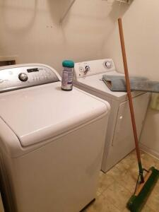 Contents of Laundry Room: Washer/Dryer, Cleaning supplies, step ladder, misc