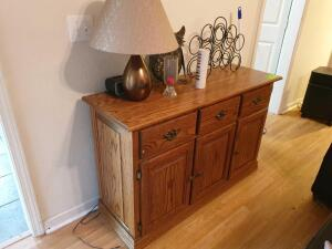 Custom Made Oak Table/Chest/Cabinet - 3 doors / 3 drawer with contents