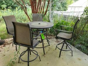 Patio Table & Chairs, fire pit, burner, hanging candle holder