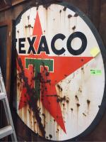 "Texaco Vintage Porcelain Sign - 72"" Diameter"