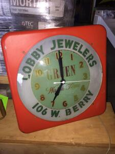 "Lobby Jewelers Electric Clock/Light 16"" x 16"""