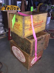 (3) Wooden Crates Antique: Squirt, Clicquot Club, Coca Cola