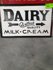 "Dairy Metal Sign 28"" x 17"""