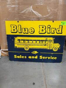 "Blue Bird 2-sided Vintage Porcelain Sign 36"" x 27"""