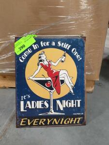 "Ladie's Night Metal Sign 16"" x 11"""