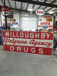 "Willoughby Drugs Metal Sign 108"" x 47"""