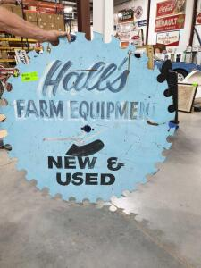 "Halls Farm Equipment Saw Blade Shaped Sign 47"" Diameter"