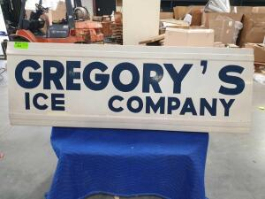 "Gregory's Ice Company Metal Sign 72"" x 25"""
